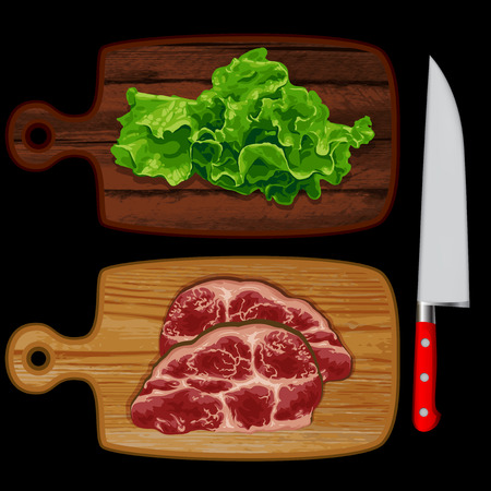 Two kitchen board, one is green salad, on another meat