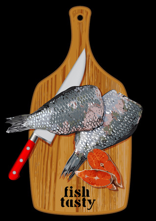 enjoyment: two fish and kitchen knife on a wooden cutting board