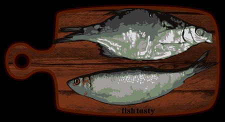 enjoyment: two fish on a wooden cutting board, freehand drawing