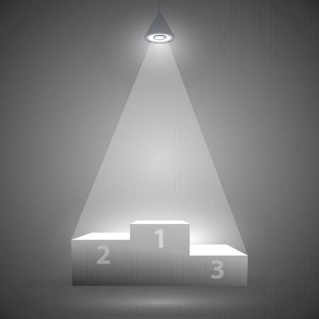 rewarding: podium for the winners under a spotlight