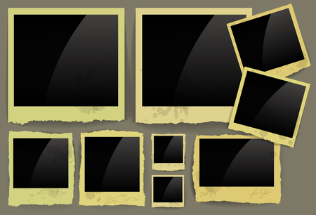 torn edges: set of frames with jagged torn edges of different sizes Illustration