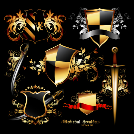 weapons: set of medieval heraldic shields and weapons