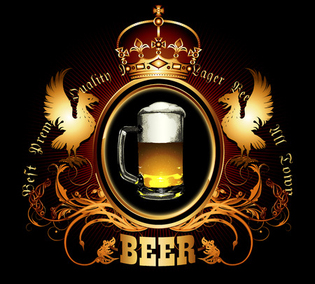 diseño de la etiqueta para los viejos tipos de cerveza