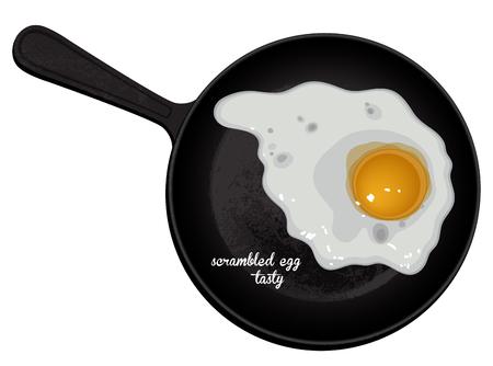 scrambled: fried egg on a black background, freehand drawing Illustration