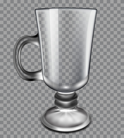glass cup: transparent glass cup on a gray plaid background