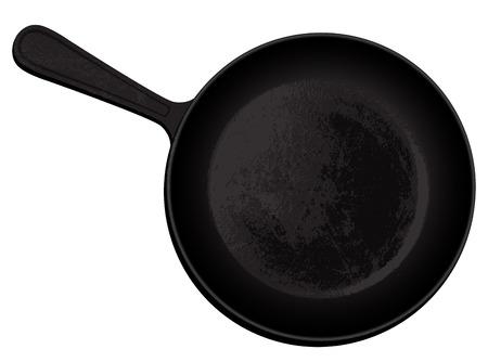 schwarze Gusseisenpfanne Vektorgrafik