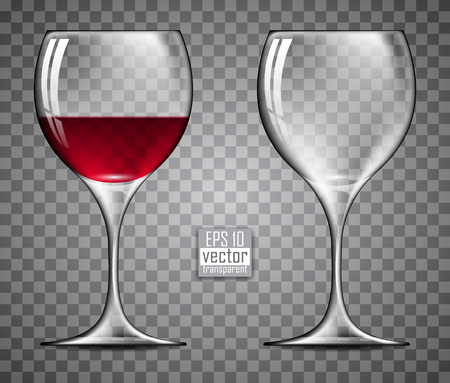 wine glasses: two glasses of wine, one of which been poured red wine