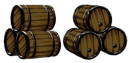 thirst: Six wine of barrels for beer, freehand drawing