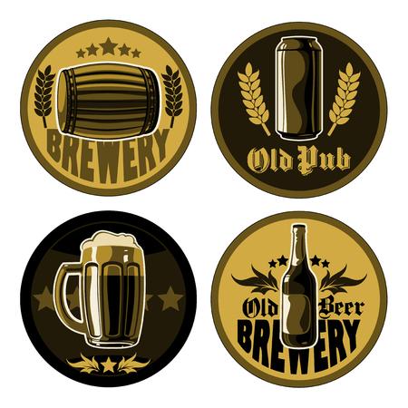 jarra de cerveza: un conjunto de cuatro posavasos para jarras de cerveza Vectores