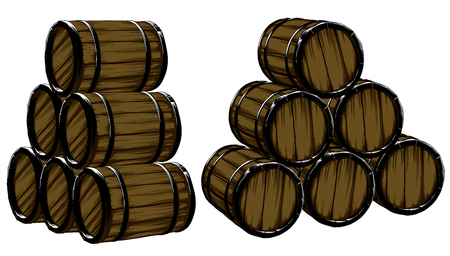 thirsty: set of  barrels for beer, freehand drawing Illustration