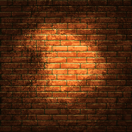 brick wall with bright light patches in the middle