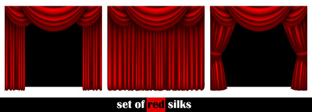 different ways: three theater curtain decorated in different ways