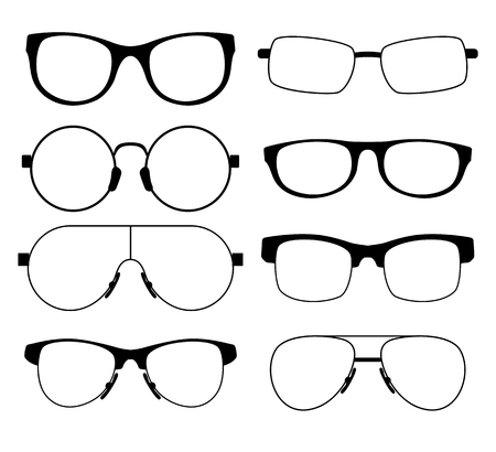 Set Of Eight Glasses In A Different Shape Thin Black Frame Royalty ...
