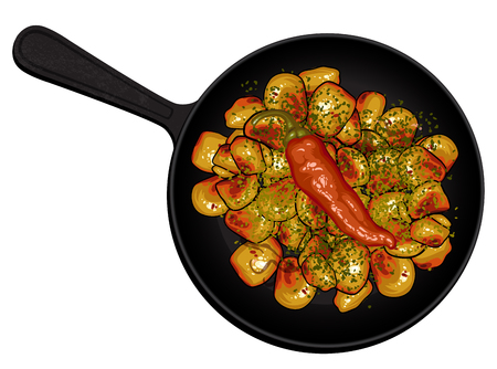cast iron: black cast iron pan with potatoes and peppers Illustration