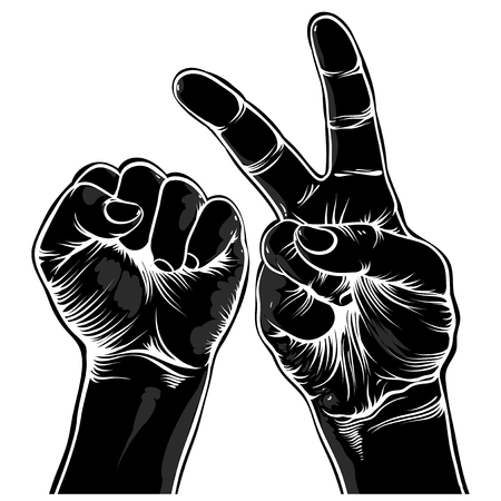 finger shape: fist symbolizes strength and a symbol of victory Illustration