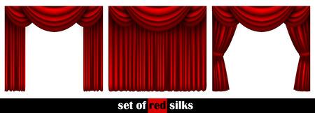 trois rideau de théâtre décoré de différentes façons