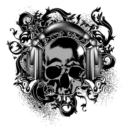 decorative background with a skull in headphones, and other elements
