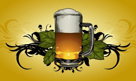 beer mug on decorative background in retro style