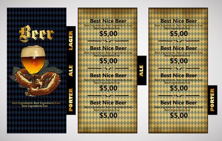 bebida: modelo de design restaurante menu de cerveja com fundo bávaro