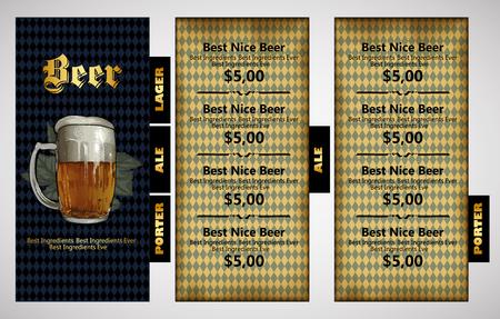 beverage: design template menu beer restaurant with bavarian background