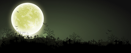 Halloween background with black night, a cemetery and a moon