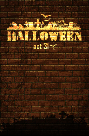 threaten: Halloween background with old brick wall and a silhouette of cemetery Illustration