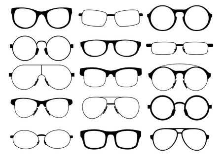 a set of fifteen eyeglasses of various shapes on a white background Illustration