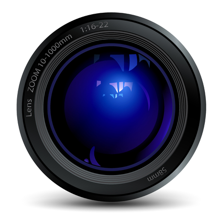 snapping: photo lens with a blue flare, isolated object