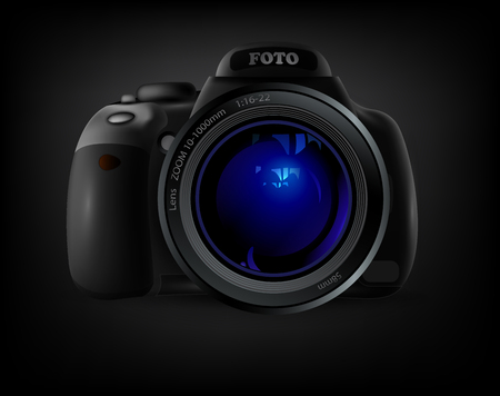 snapping: camera with blue lens flare on a black background Illustration