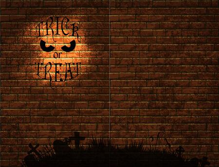 Halloween fond avec de vieux mur de briques et une silhouette de cimetière