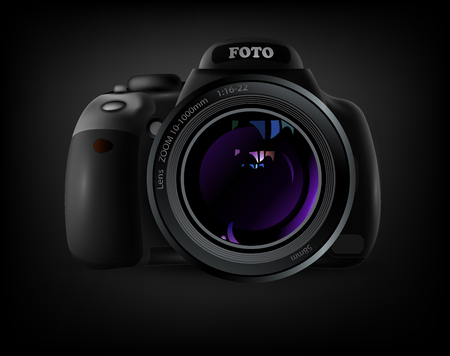 camera with violet lens flare on a gray background