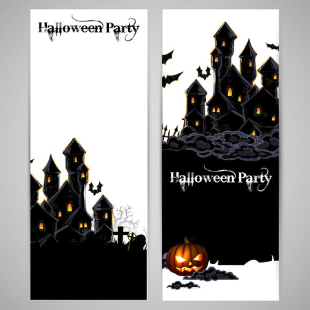 threaten: Halloween party invitation with a picture of a black castle
