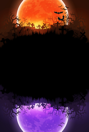halloween background with a bright moon and his mirror image of another color Illustration