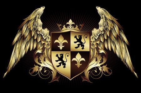 Ornamentale mittelalterliche Schild mit Krone und Flügeln verziert Standard-Bild - 67296766