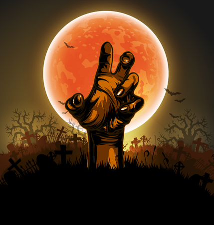 fearful: Halloween backdrop with a silhouette of a hand against the backdrop of a large moon Illustration
