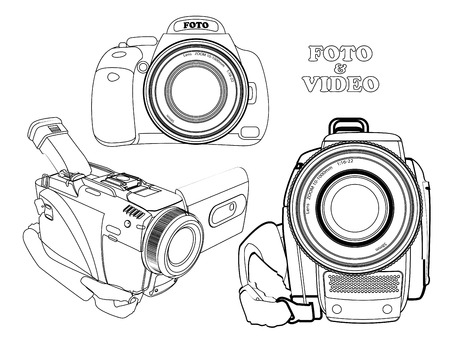 white silhouettes photos and video cameras on a white backdrop Illustration