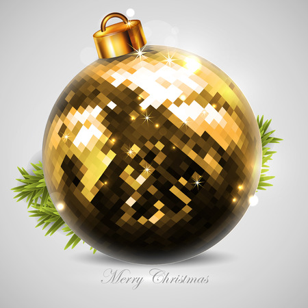 christmastree: Christmas card with golden Christmas-tree ball