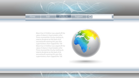 internet buttons: Web template with an image of the earth and space for text