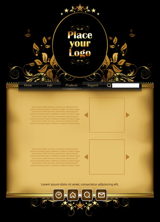style template: Web template decorated in retro style with space for logo