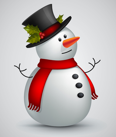 december holidays: snowman image in red scarf and hat Illustration