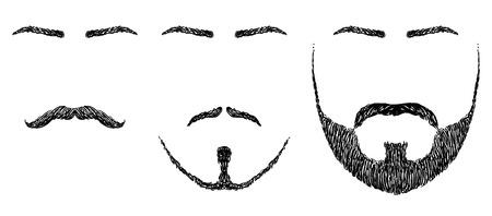 human face: set of various shapes beard, mustache, eyebrows