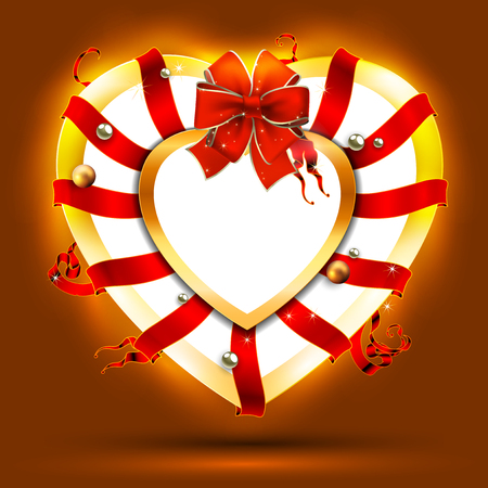 december holidays: Christmas wreath in the shape of a heart, decorated with red ribbons Illustration