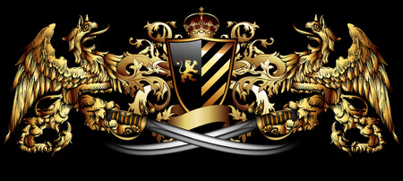 abstract paintings: Heraldic griffins hold a shield and two sabers