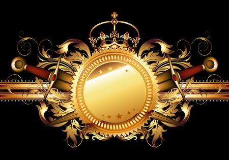 curve creative: Decorative shield in retro style