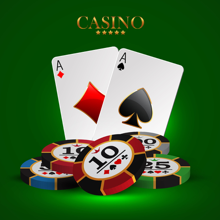 casino advertising design with a playing chips and cards
