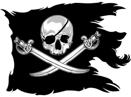 pirated: black pirate flag with a skull and sabers