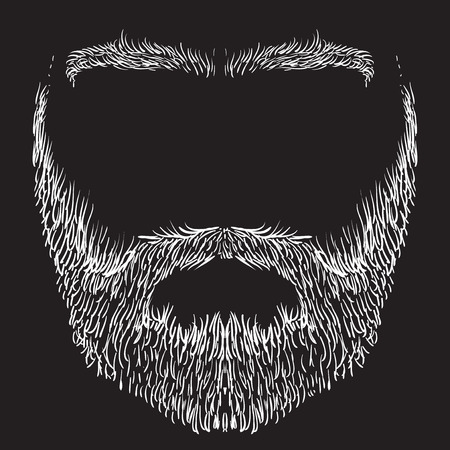 form of beard, mustache, eyebrows, freehand drawing