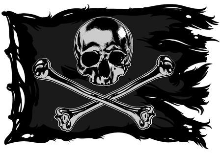 Black pirate flag with skull and bones 矢量图像