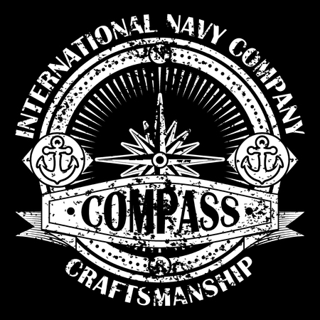 compass rose: Corporate logo with compass. Emblem with banner isolated on black background. Navigation symbol. Vector illustration.