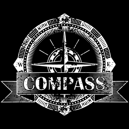 Drawing of a compass on a black background in retro style